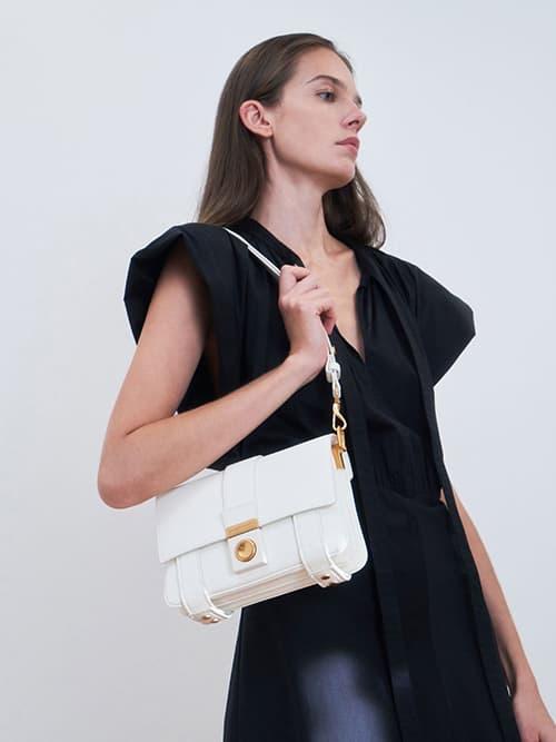 Metallic Push-Lock Shoulder Bag, White