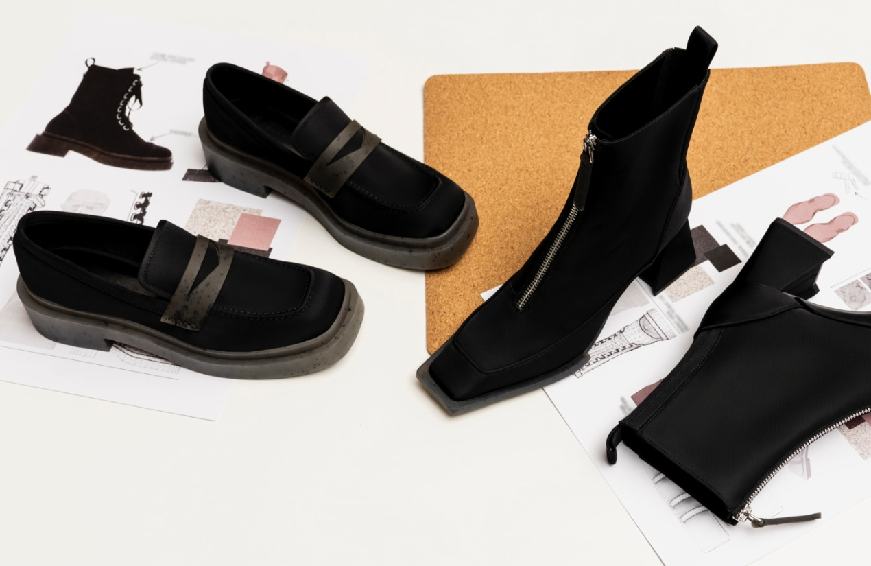 Women's Charli recycled nylon penny loafers in black and Rylee recycled nylon ankle boots in black - CHARLES & KEITH