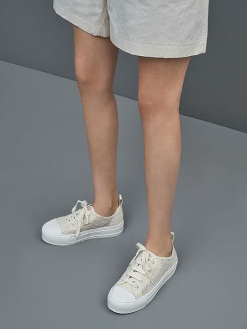 Lace Low-Top Sneakers, Cream