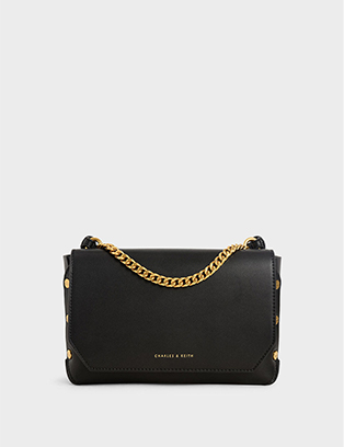 STUDDED CHAIN LINK SHOULDER BAG