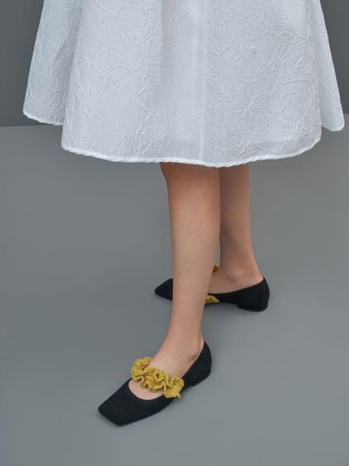 Textured Ruffle Strap Mary Janes, Black