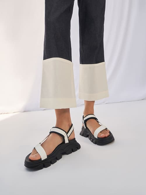 Dash厚底涼鞋,白色