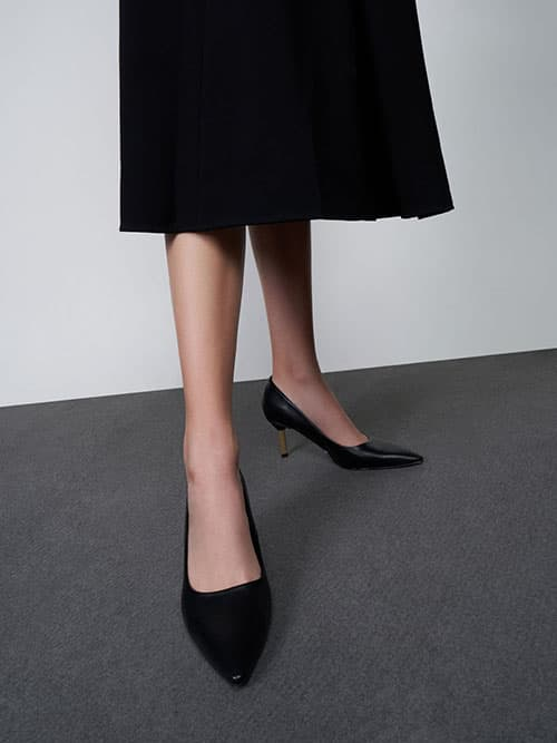 Metallic Stiletto Heel Pumps, Black