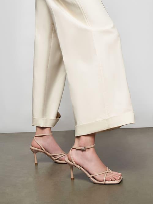 Ankle Strap Stiletto Sandals, Beige