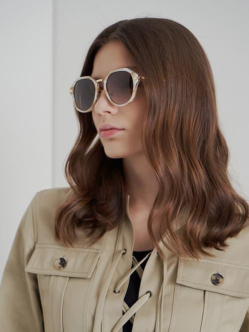 Geometric Sunglasses, Cream