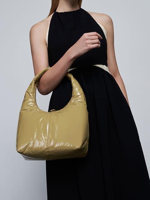 Wrinkled-Effect Large Hobo Bag, Sand