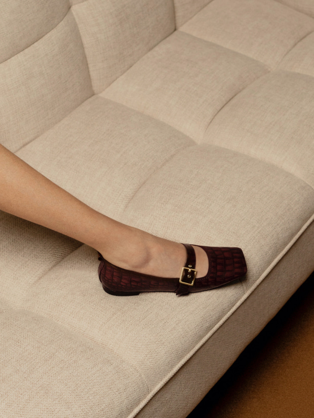 Women's croc-effect square toe Mary Jane flats in brown - CHARLES & KEITH