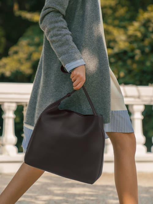Single Handle Large Hobo Bag, Dark Oak