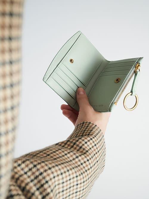 Ring Detail Card Holder, Mint Green