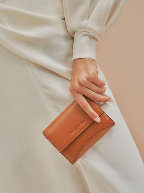 Snap Button Mini Short Wallet, Cognac