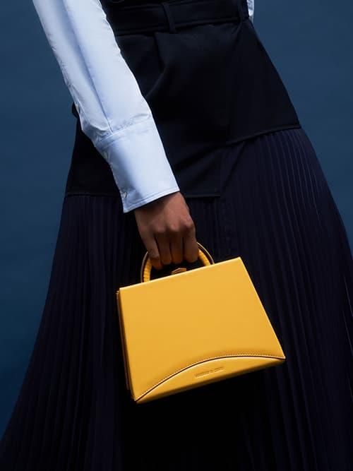 Metallic Top Handle Trapeze Bag, Yellow