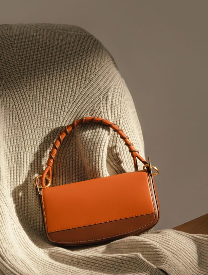 Women's coiled top handle shoulder bag in cognac - CHARLES & KEITH