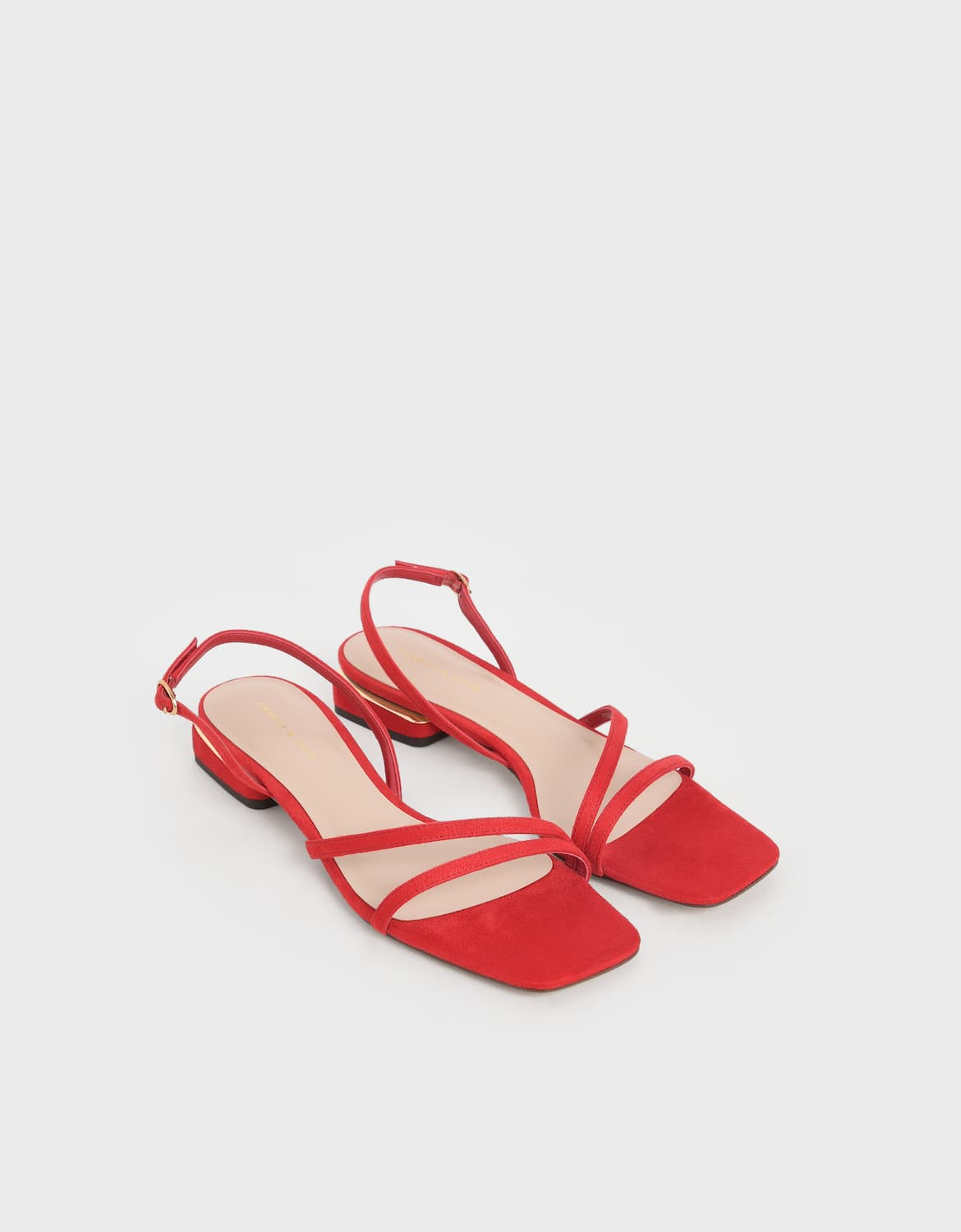 Women's textured strappy slingback heels in red – CHARLES & KEITH