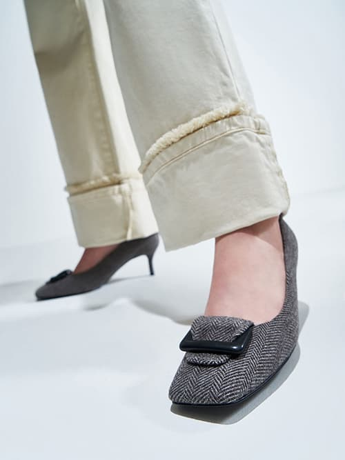 Woven Buckled Pumps, Black Textured