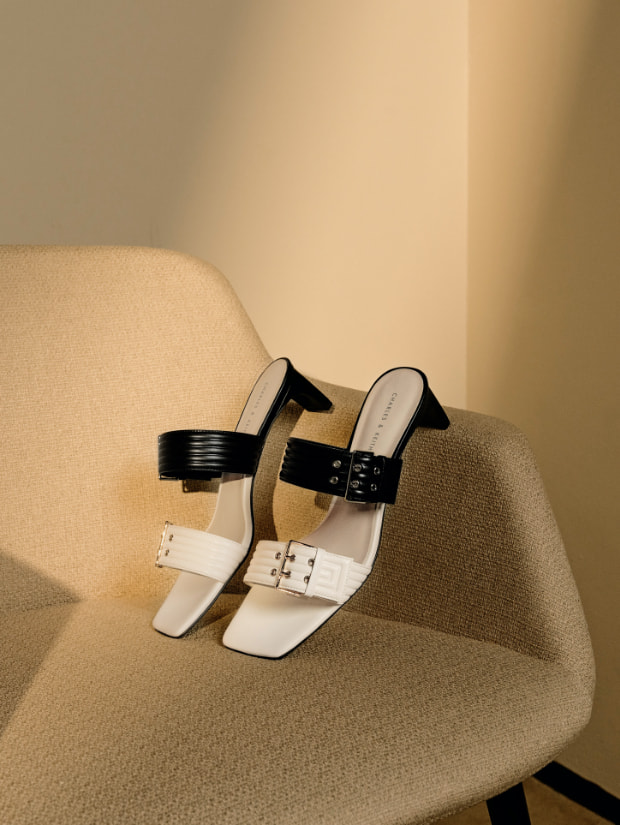Women's double buckle blade heel mules in chalk - CHARLES & KEITH
