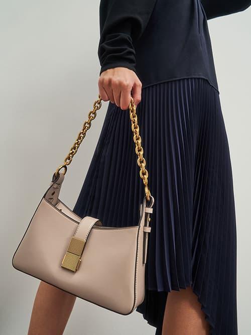 Chain Handle Shoulder Bag, Sand