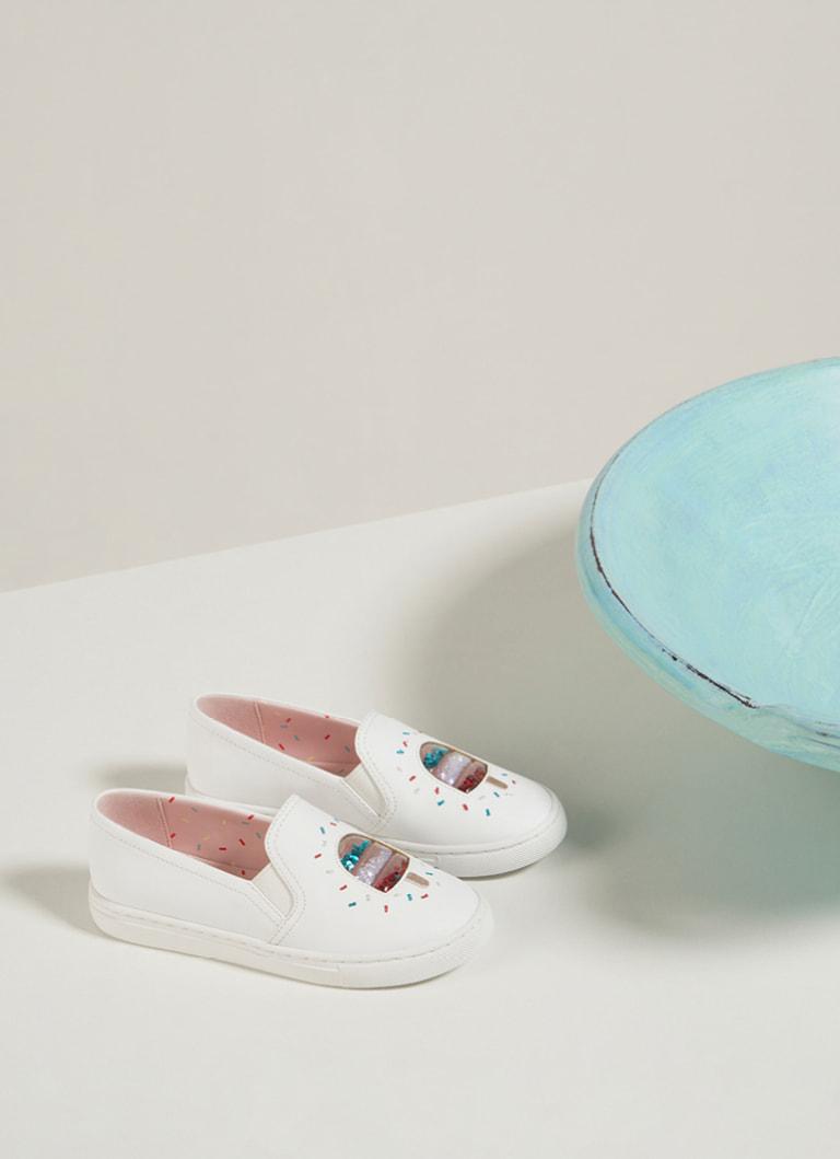 Girls' rainbow sprinkle motif sneakers in cream – CHARLES & KEITH