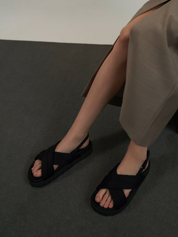Women's recycled polyester padded sports sandals in black - CHARLES & KEITH