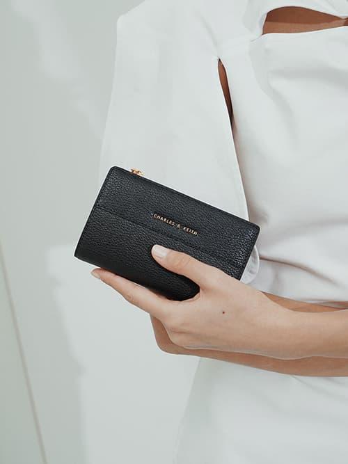 Snap-Button Mini Wallet, Black