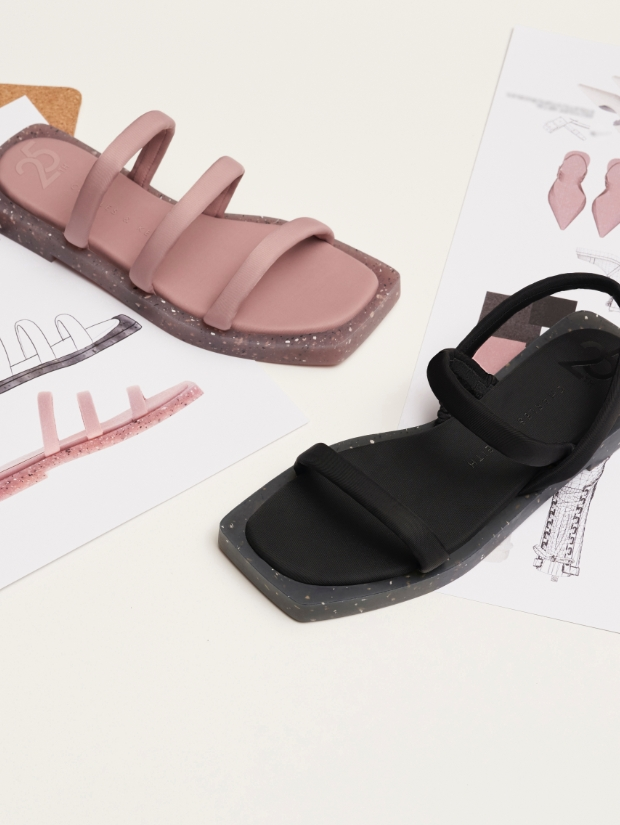 Arabella recycled nylon slide sandals in pink; Arabella recycled nylon slingback sandals in black - CHARLES & KEITH