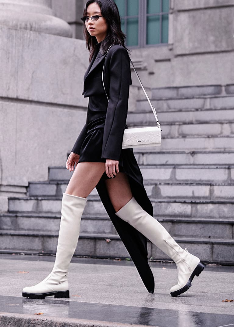 Women's thigh-high platform boots in chalk – CHARLES & KEITH