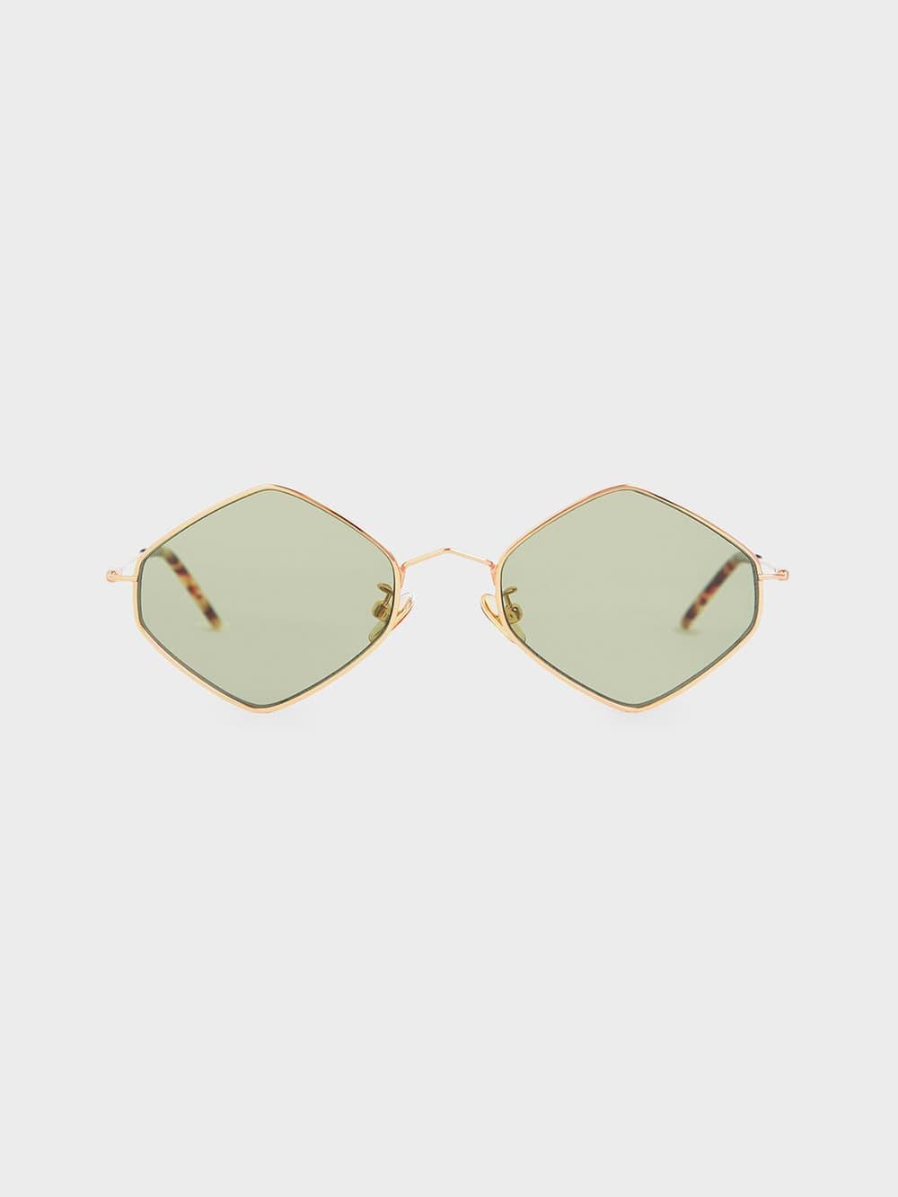 Thin Metal Frame Geometric Sunglasses