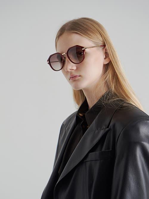 Geometric Sunglasses, Burgundy