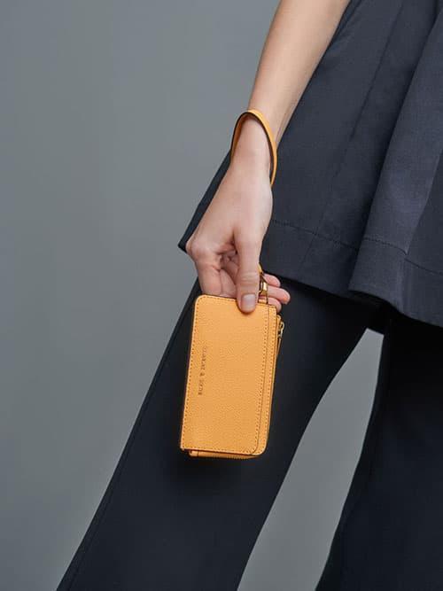 Multi-Slot Zip-Around Card Holder, Mustard