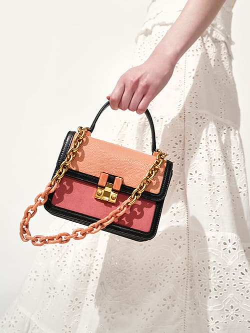 Small Chunky Chain Strap Bag, Peach