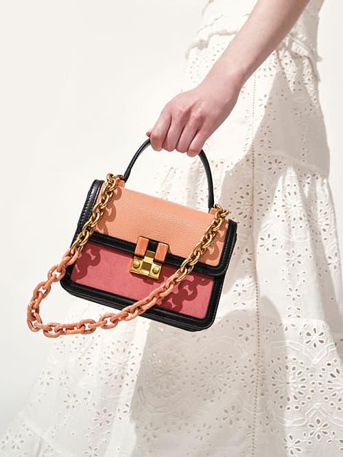 拼接扣環小型提包,蜜桃色