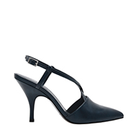 CROC EFFECT CRISS CROSS STRAPPY POINTED TOE HEELS