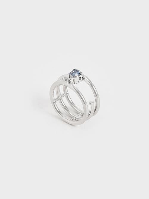 Crystal Embellished Caged Ring, Silver