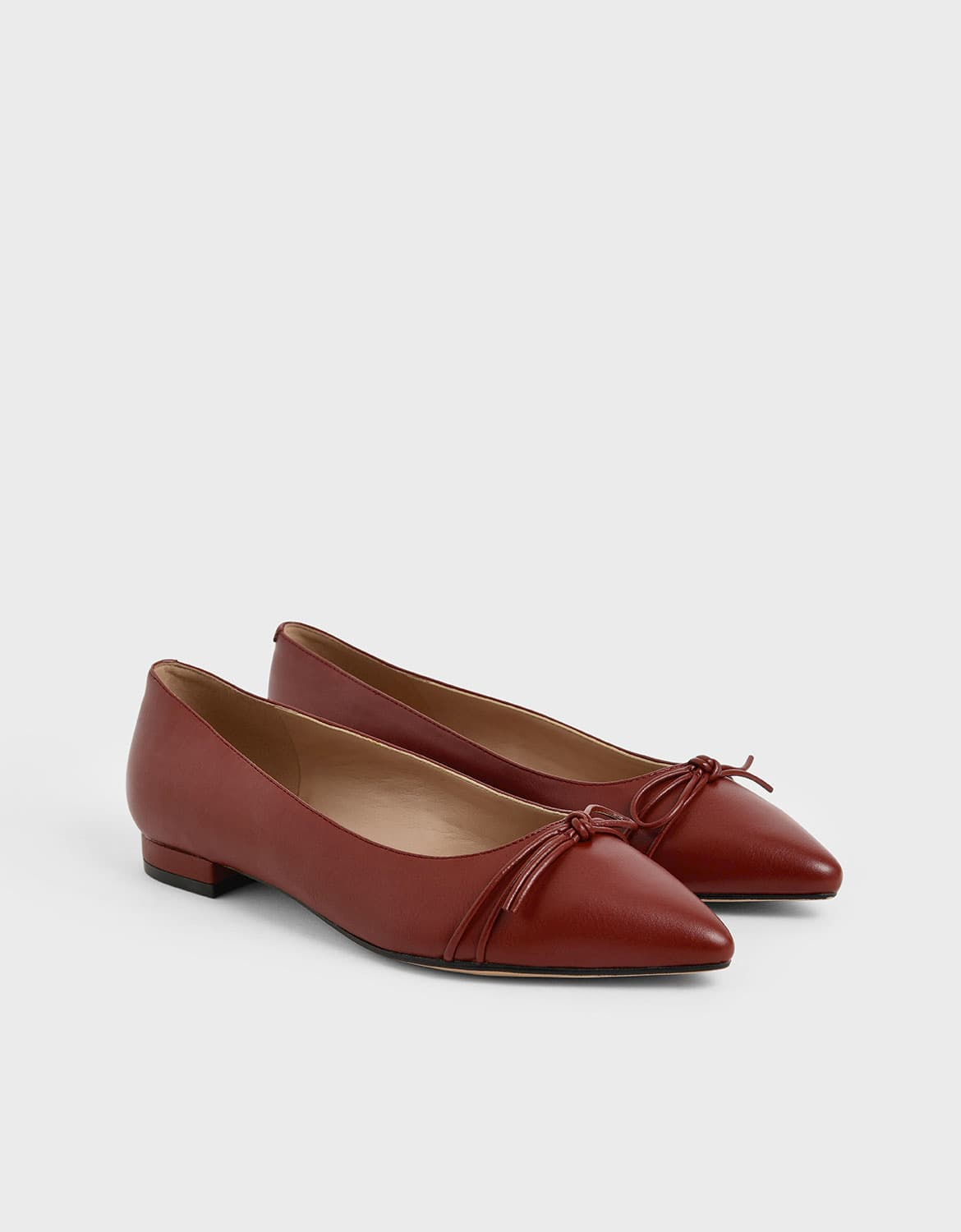 ribbon tie ballerina flats in red – CHARLES & KEITH