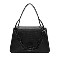 CROC EFFECT CHUNKY CHAIN LINK SHOULDER BAG