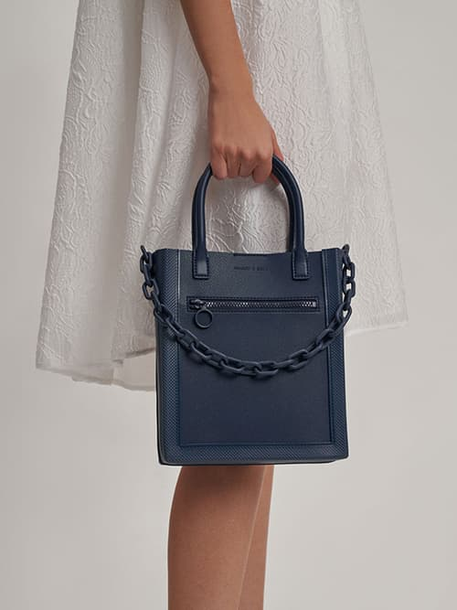 Chain Link Tote Bag, Navy