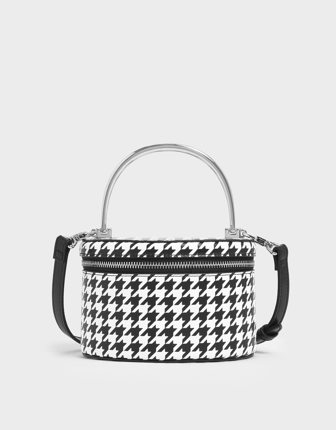 Women's Metal Top Handle Houndstooth Print Round Structured Bag - CHARLES & KEITH