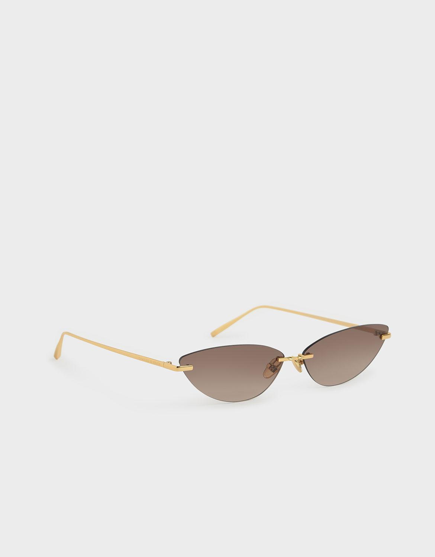 Women's brown rimless cat-eye sunglasses – CHARLES & KEITH