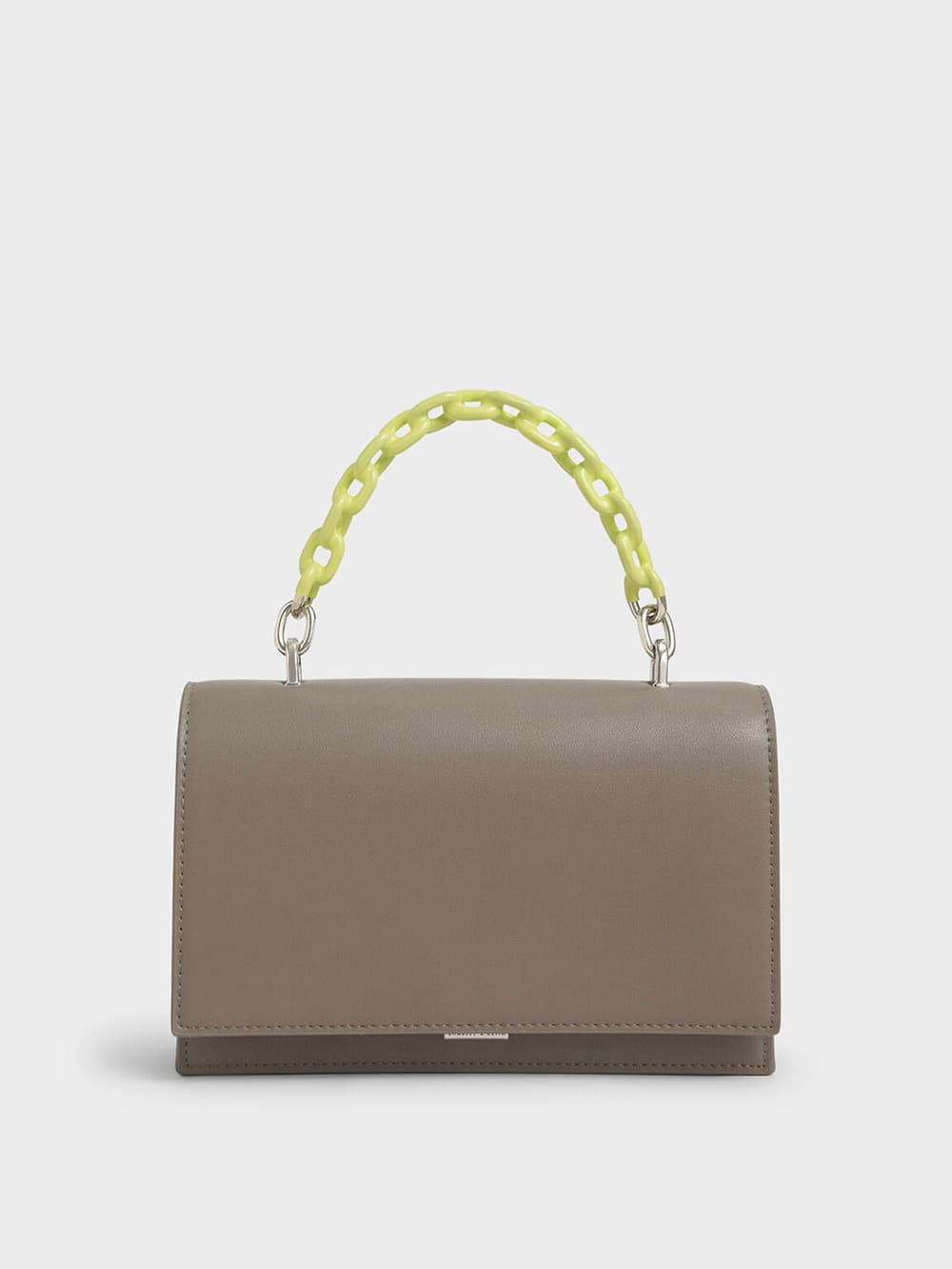 Two-Tone Chain Top Handle Bag