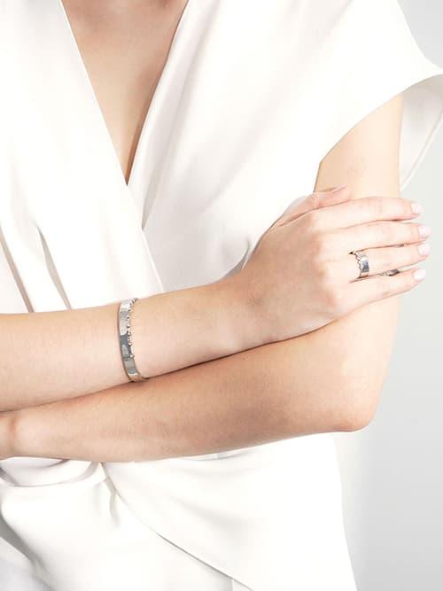 Swarovski® Crystal Studded Bracelet, Silver