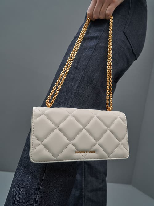 Chain Handle Quilted Long Wallet, Cream