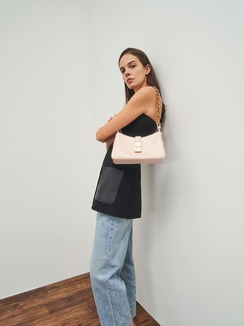Chain Handle Shoulder Bag, Light Pink