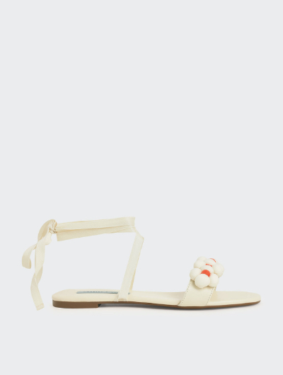 POM POM TIE-AROUND SANDALS