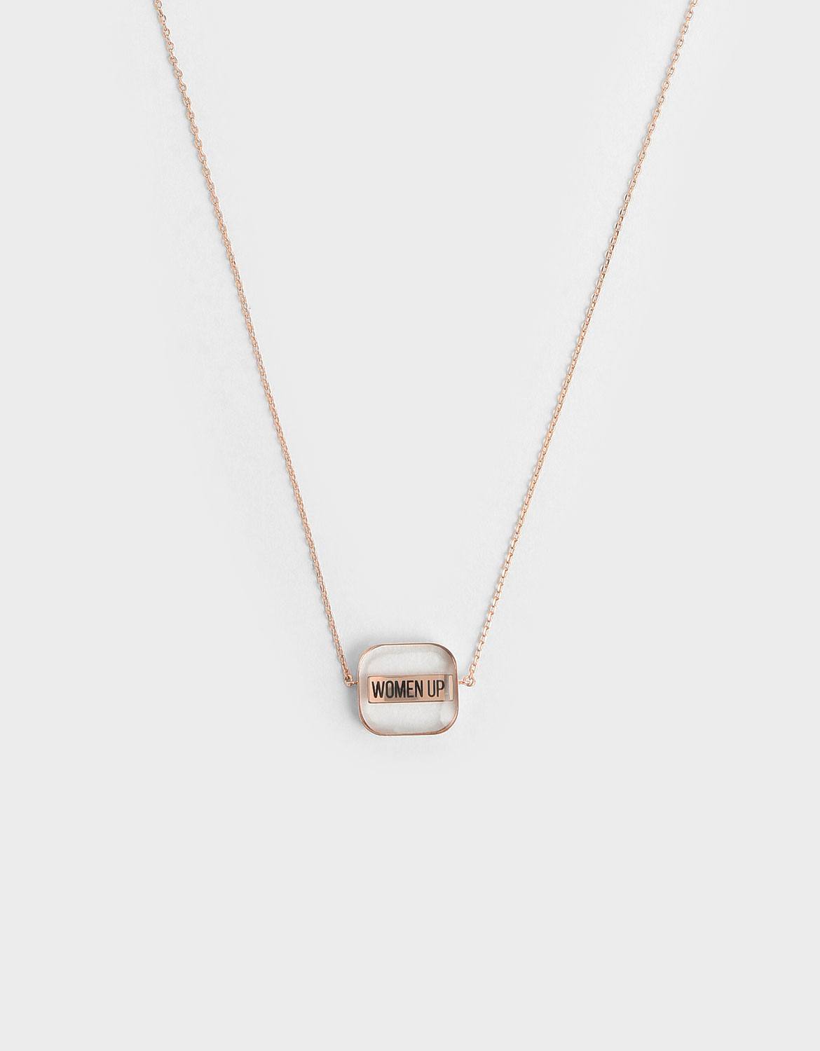 """Women's bronze """"WOMEN UP!"""" acrylic necklace – CHARLES & KEITH"""