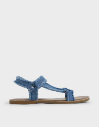DENIM ASYMMETRIC STRAP SANDALS