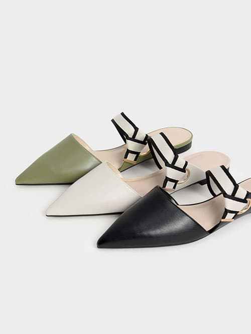 Pointed Toe Fabric Strap Mules