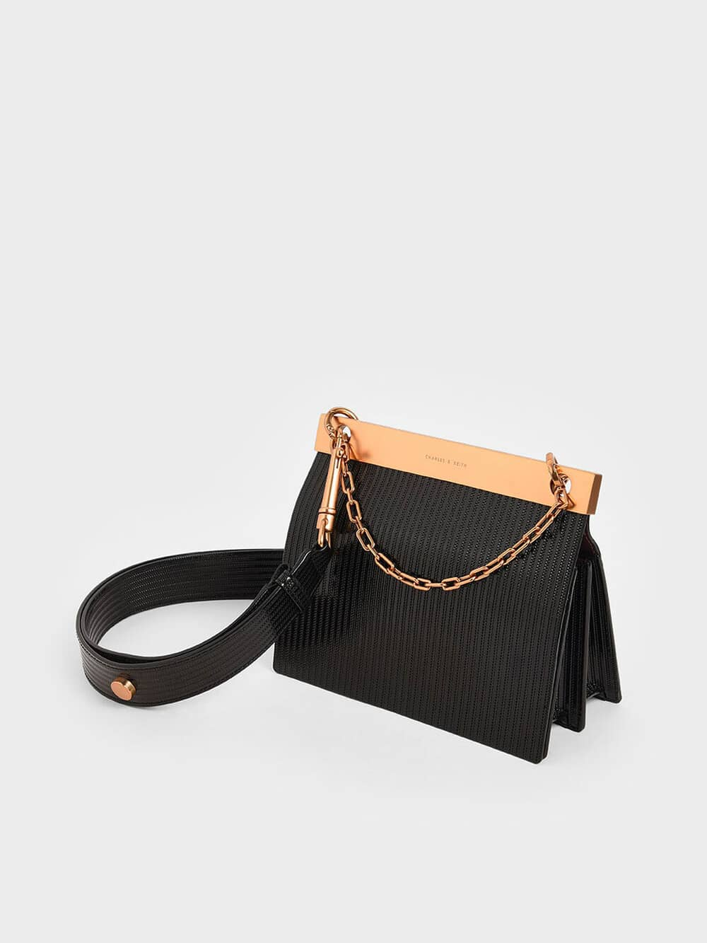 Patent Striped Chain Handle Bag