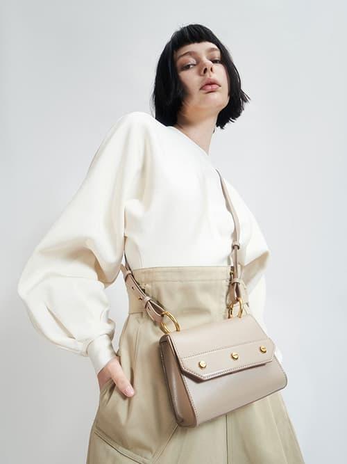 Studded Top Handle Bag, Taupe