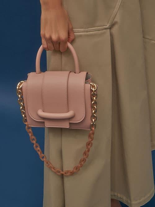 Chain Strap Mini Bag, Blush