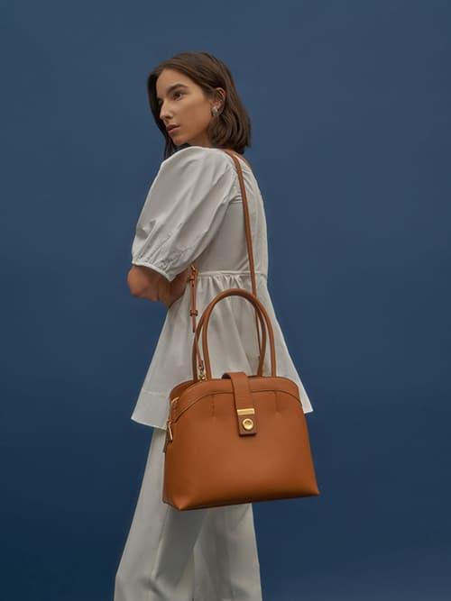 Double Handle Tote Bag, Cognac