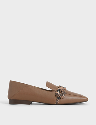 LEATHER SNAKE PRINT STEP-BACK LOAFERS